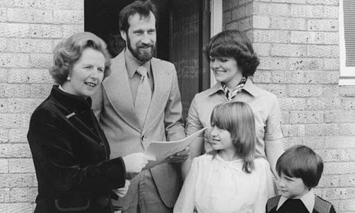 margaret thatcher black and white photo with family