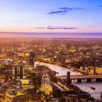 sky line of london uk at sunset