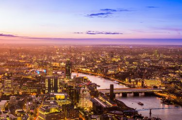 sky line of london uk at sunset